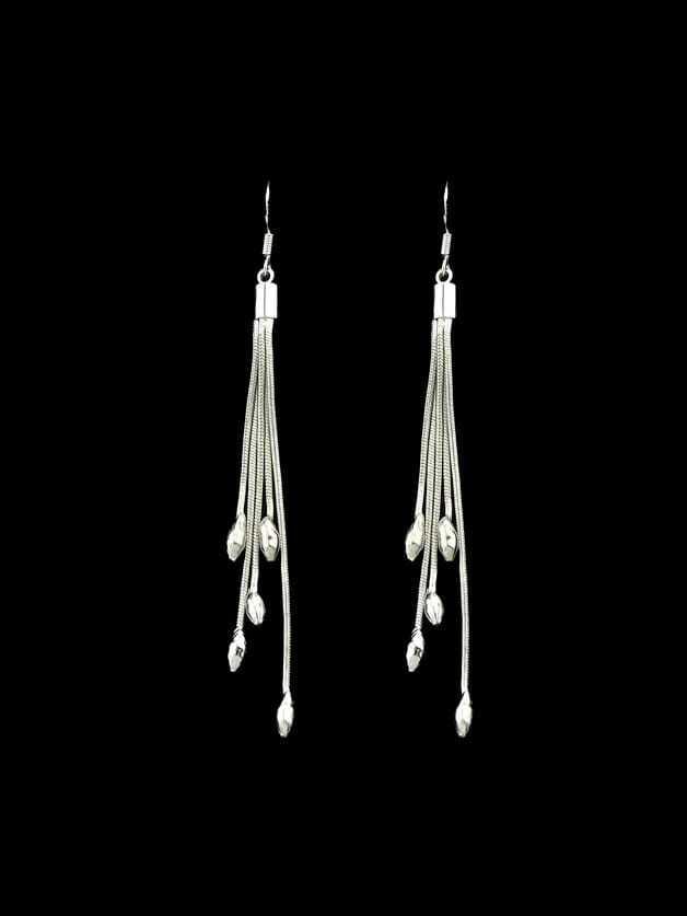 Multi Layers Long Tassel Dangle Earrings statement rhinestone tassel dangle earrings