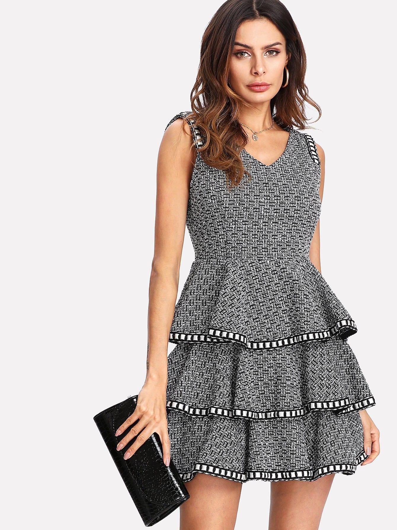 Woven Tape Trim Layered Tweed Dress frayed trim open front tweed blazer