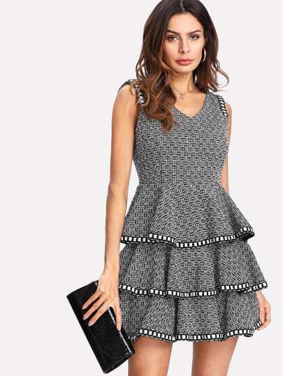 Woven Tape Trim Layered Tweed Dress