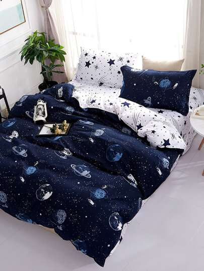 2.2m 4Pcs Galaxy Print Duvet Cover Set