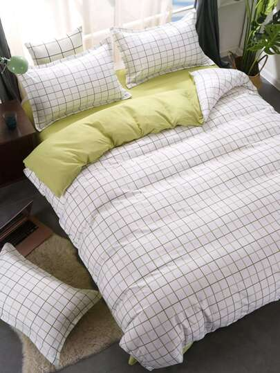 2.2m 4Pcs Gingham Print Bedding Sets