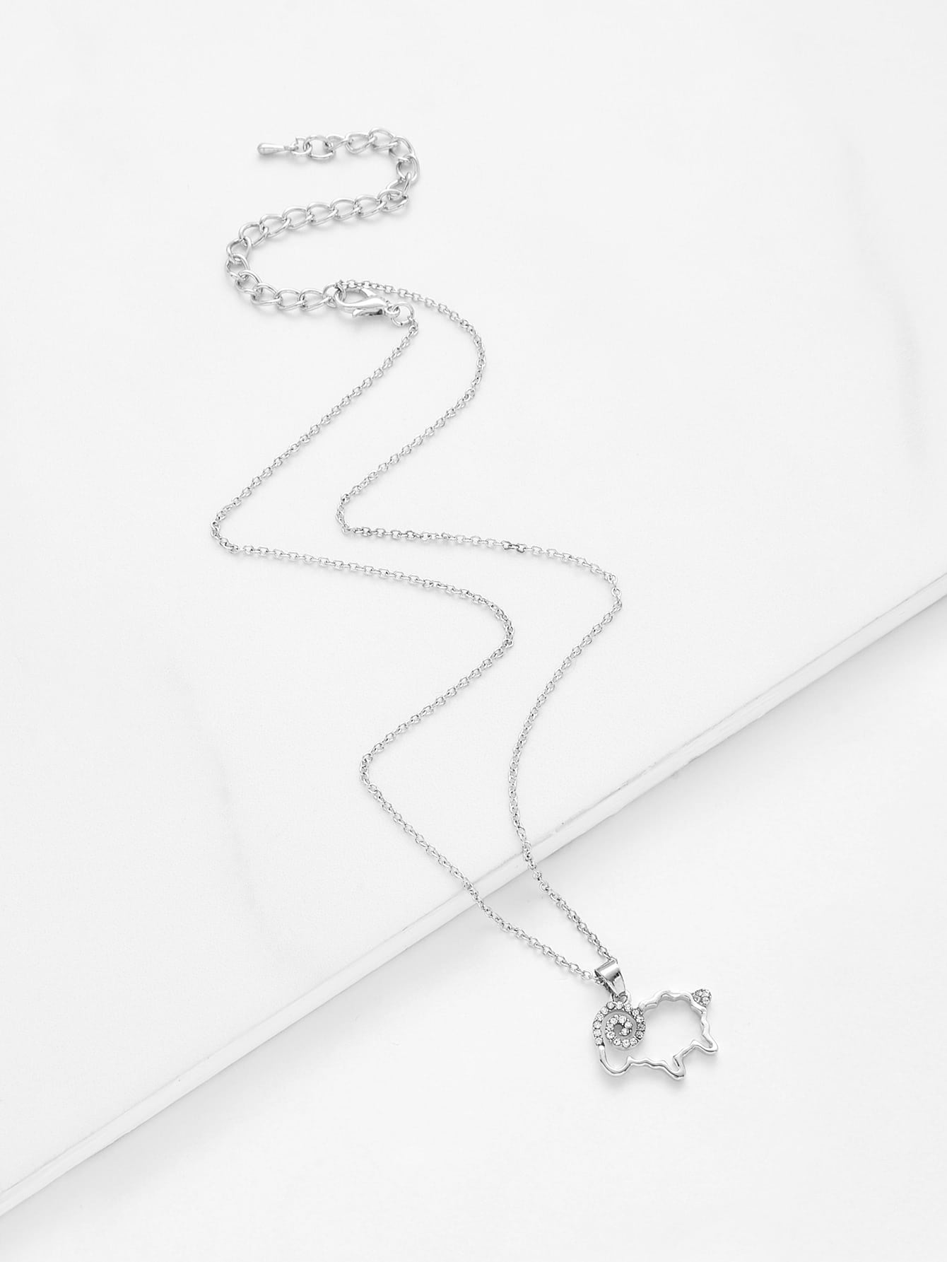Rhinestone Detail Sheep Pendant Chain Necklace link chain rhinestone pendant necklace