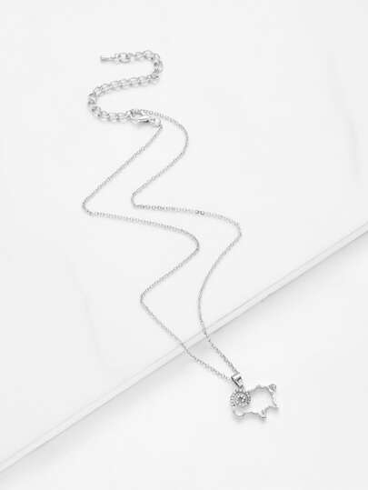 Rhinestone Detail Sheep Pendant Chain Necklace