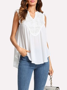 Guipure Lace Applique Curved Flowy Top