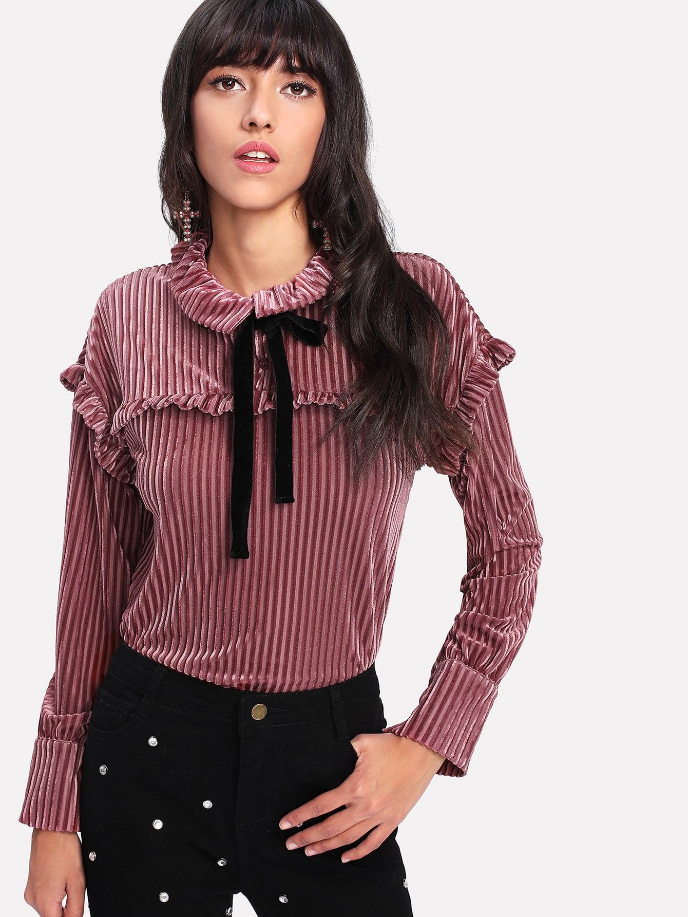 Frill Trim Tie Neck Velvet Blouse v neck lace trim velvet blouse