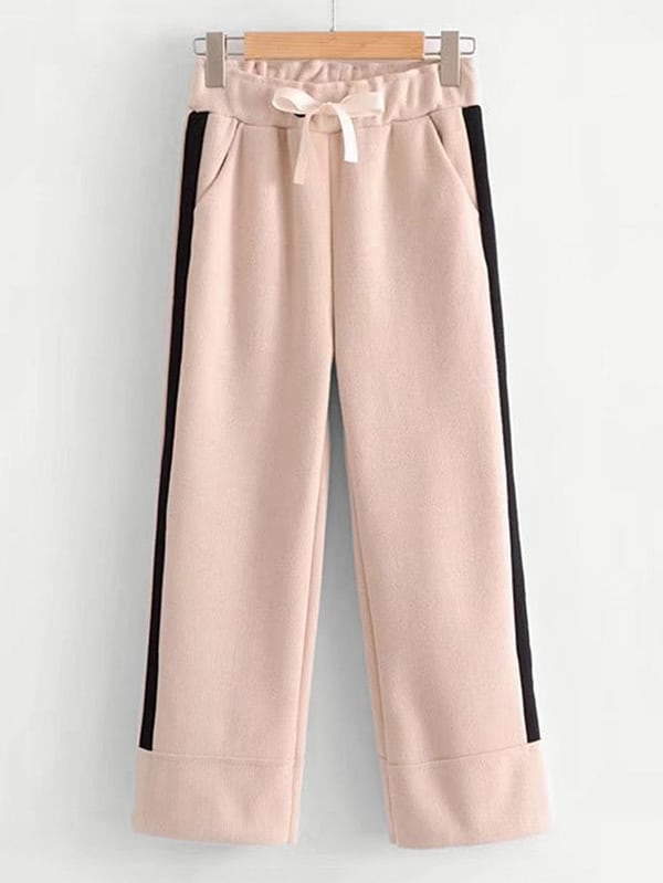 Image of Contrast Tape Bow Tie Crop Pants