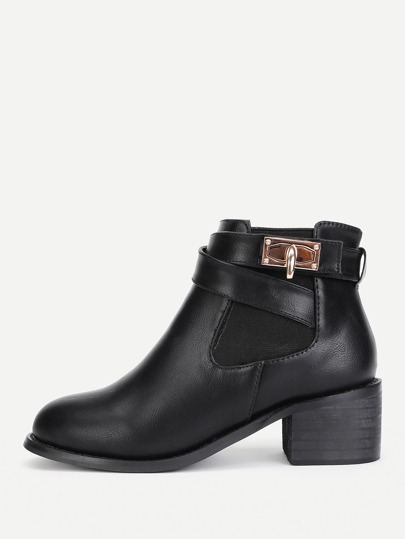 Twist Lock Detail Round Toe Ankle Boots