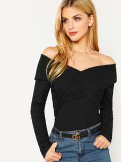 Cross Wrap Front Sparkle Bardot Top