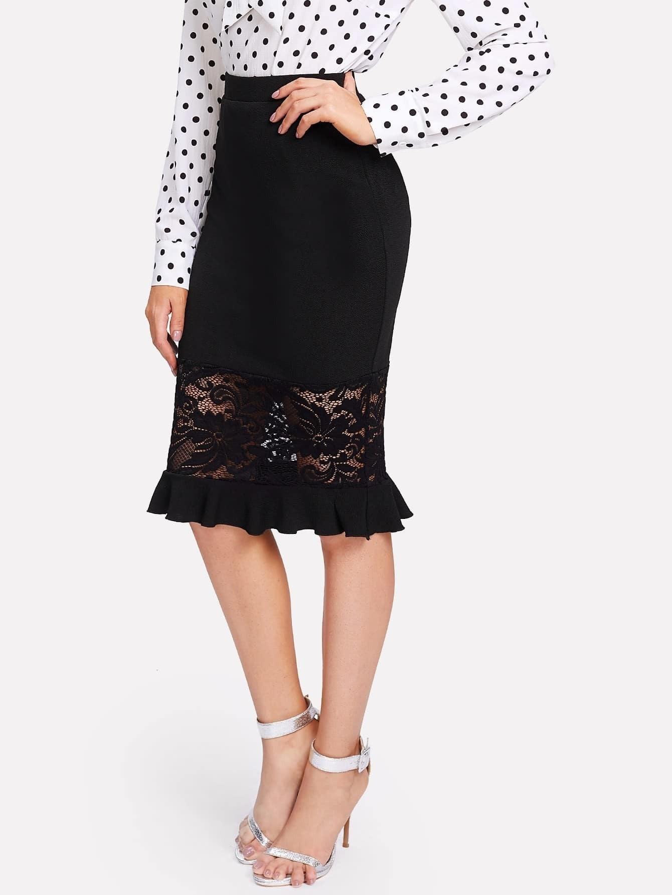 Lace And Ruffle Hem Pencil Skirt ruffle waist zip back scallop hem embroidered gingham skirt