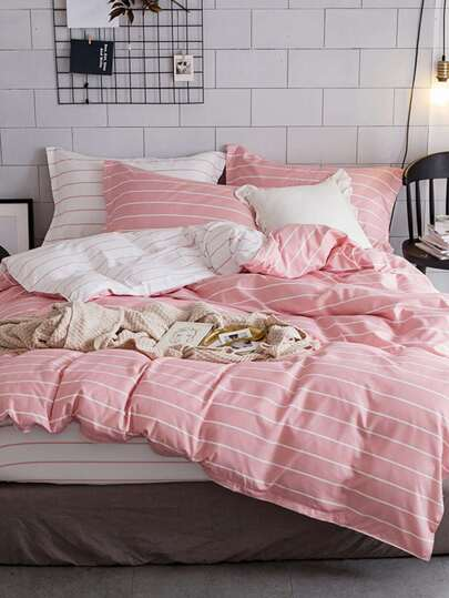 2.0m 4Pcs Pencil Striped Duvet Cover Set