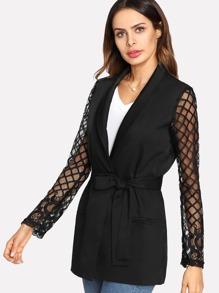 Square Mesh Sleeve Belted Longline Blazer
