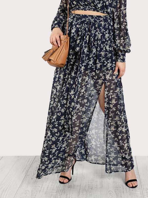 Self Tie Ditsy Print Skirt by Shein