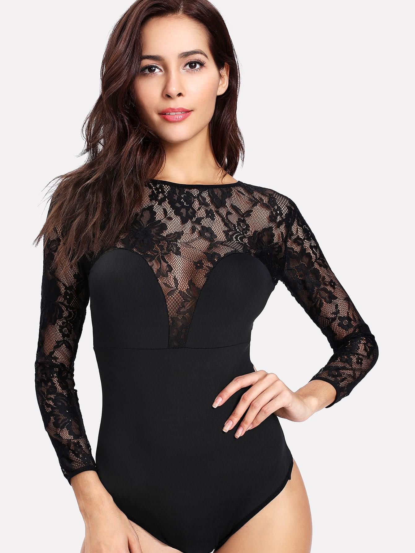 Contrast Lace Backless Bodysuit contrast lace bodysuit