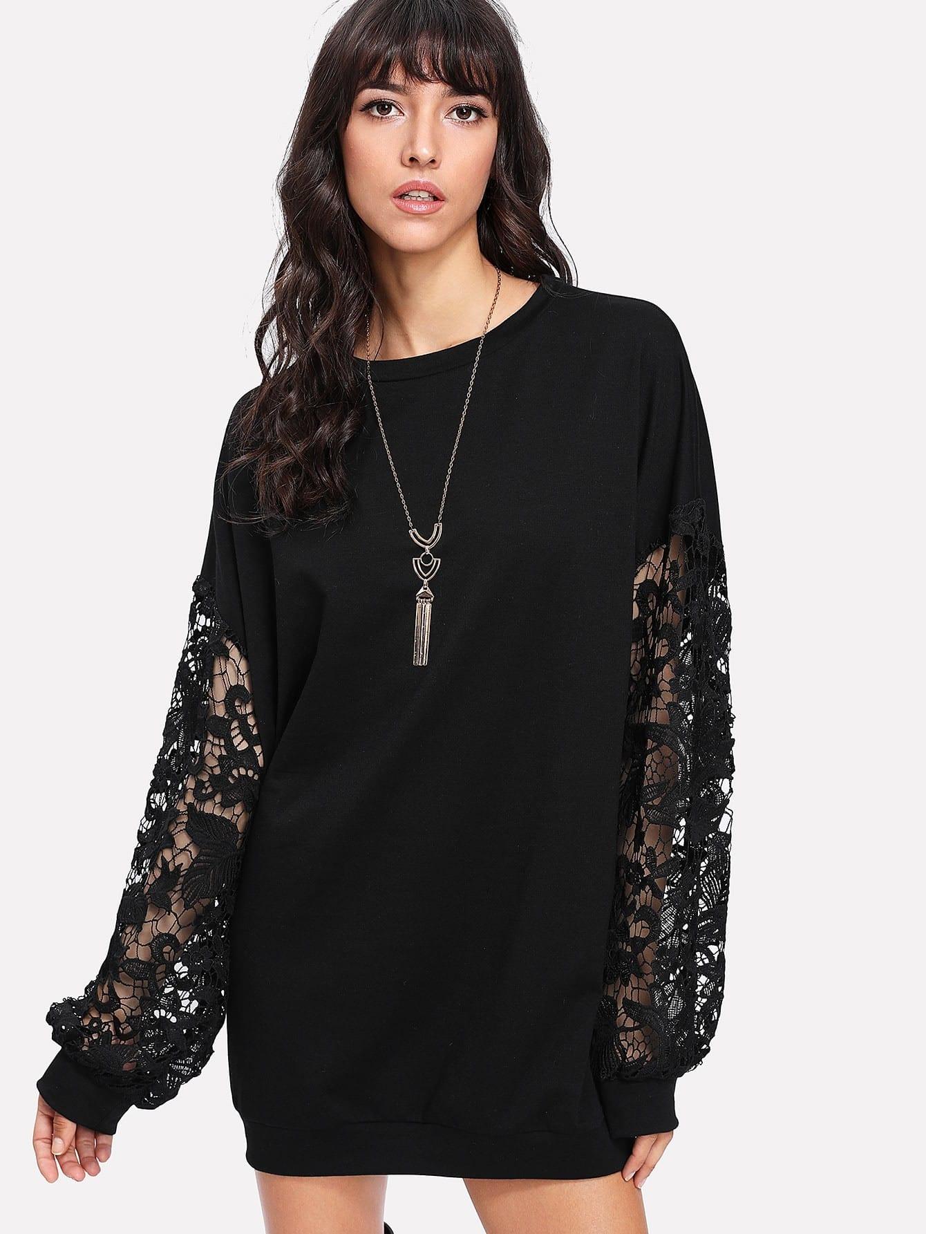 Contrast Floral Lace Sleeve Longline Sweatshirt