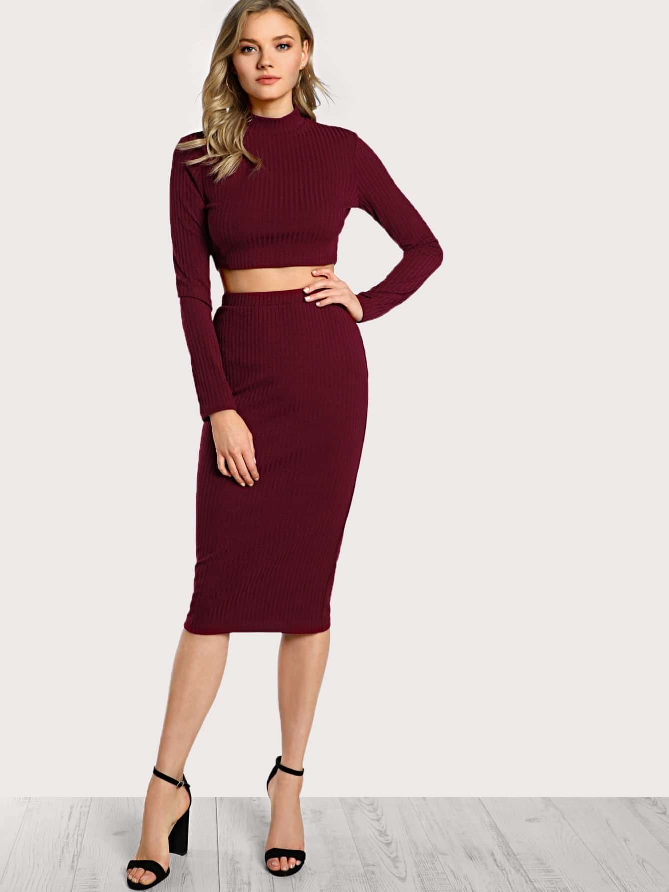 high neck crop top amp pencil skirt set makemechiccom
