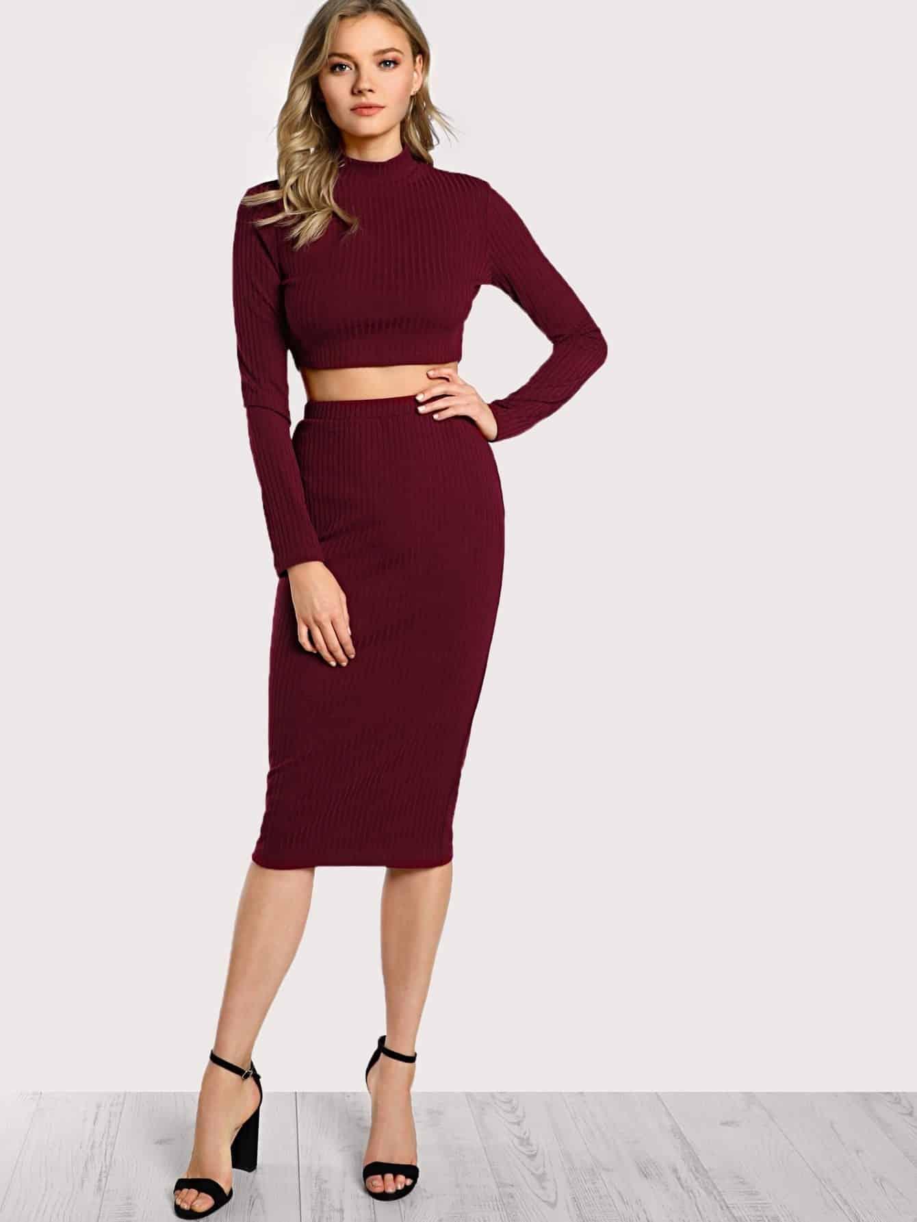 High Neck Crop Top & Pencil Skirt Set