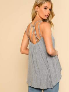 Halter Ribbed Tank Top GREY