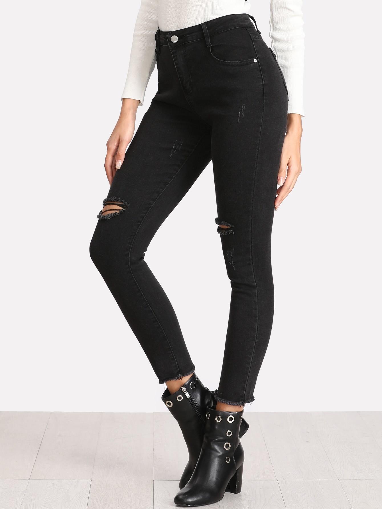 Knee Rips Raw Hem Jeans