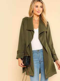 Belted Long Sleeve Trench Coat OLIVE