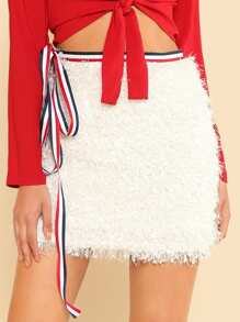 Striped Tape Belt Detail Fringe Skirt