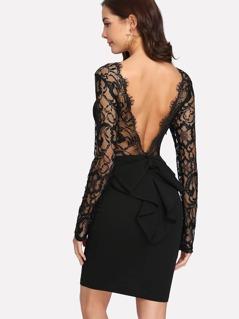 Lace Yoke Frill Trim Open Back Dress