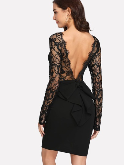 Open Back Bow Detail Eyelash Lace Trim Dress