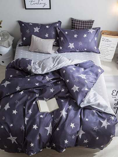 1.5m 4Pcs Star Print Duvet Cover Set