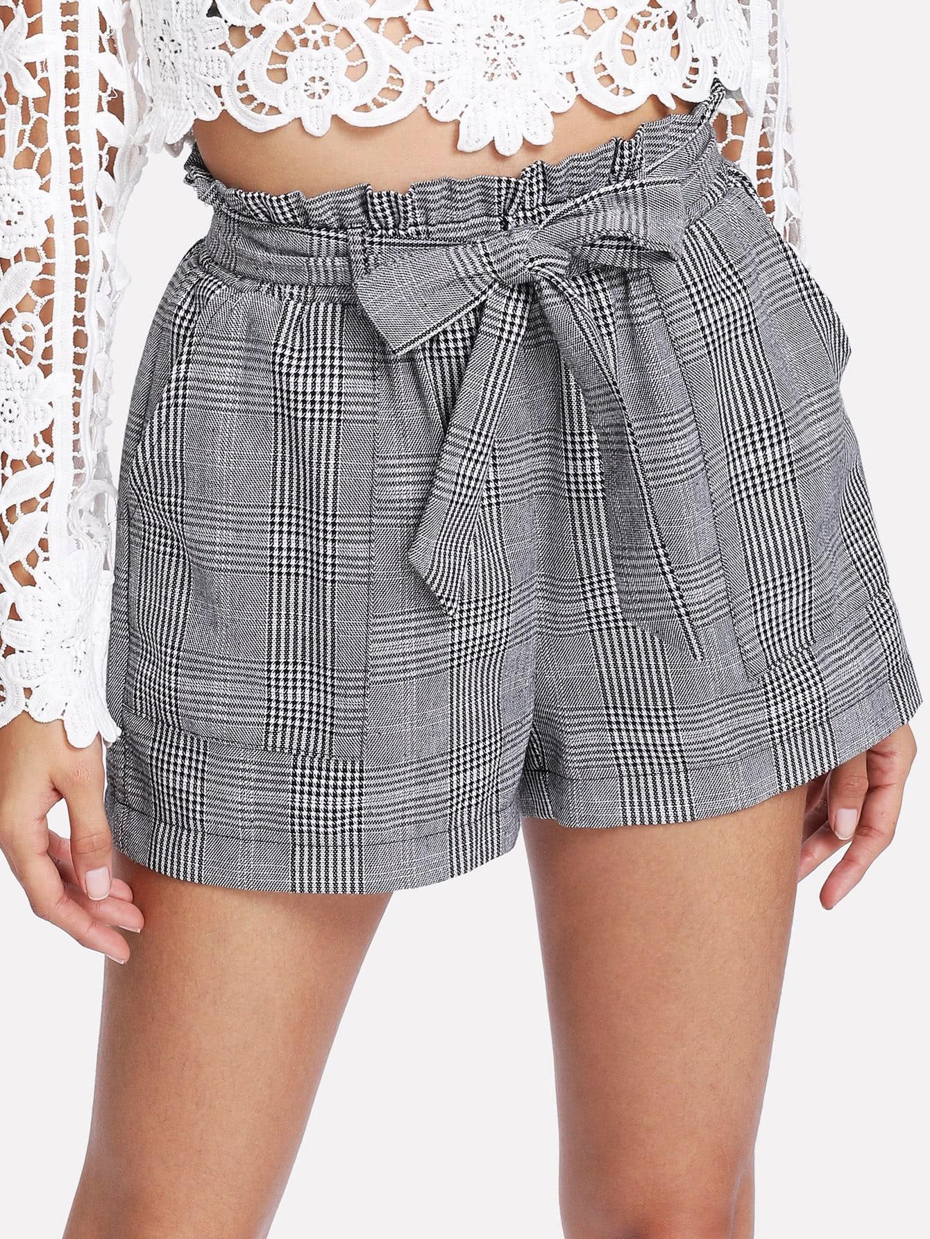 Купить Модные клетчатые шорты с поясом, Gabi B, SheIn