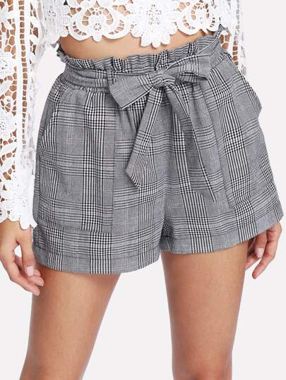 Self Belted Plaid Shorts
