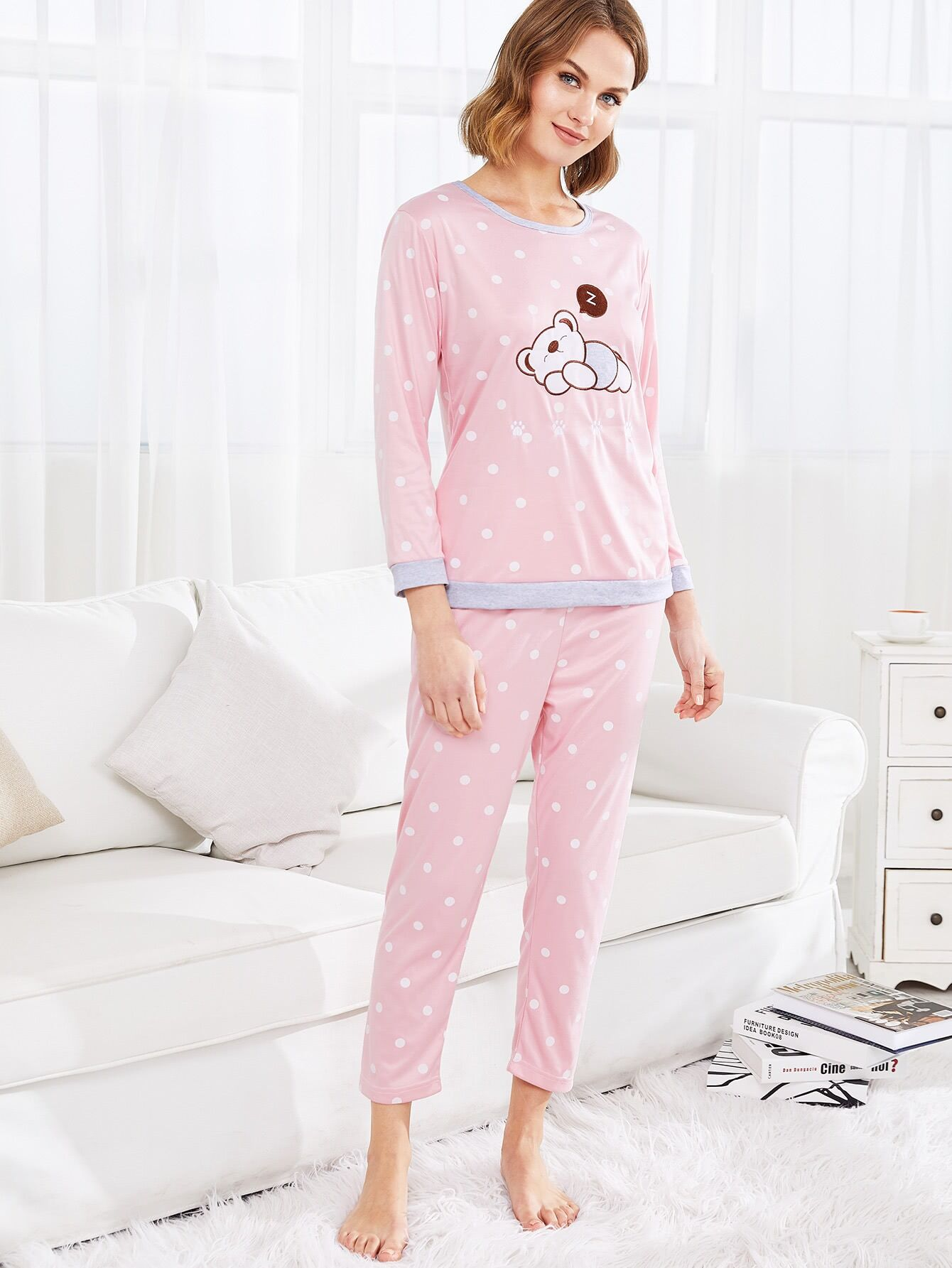 Bear Embroidery Polka Dot PJ Set