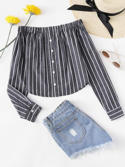 Off Shoulder Single Breasted Striped Top