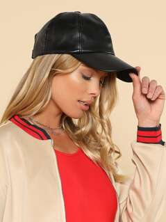Faux Leather Dad Hat BLACK