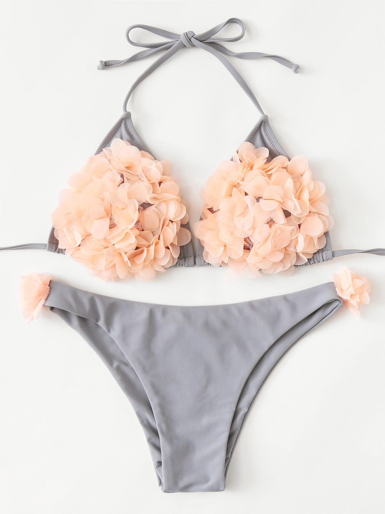 Flower Applique Self Tie Bikini Set
