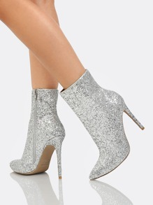 Glitter Ankle High Boots SILVER