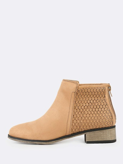 Perforated Zipper Faux Suede Ankle Boots TAN