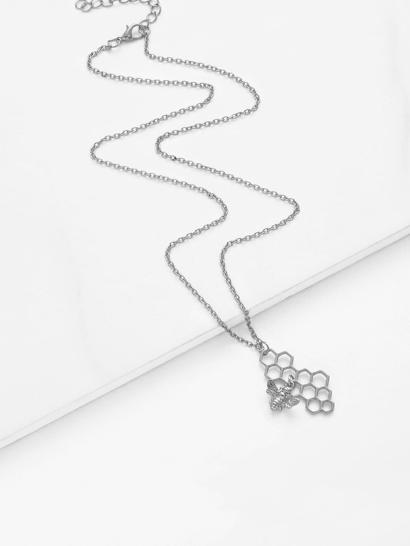 Bee & Honeycomb Pendant Chain Necklace