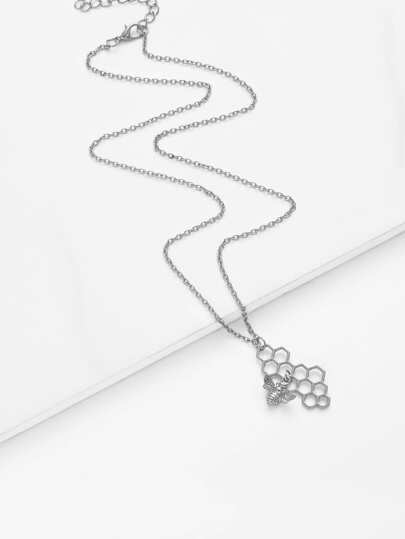 Bee & Honeycomb Pendant Chain Necklace