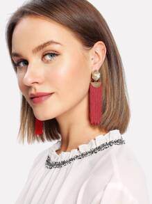 Flower Top Fringe Tassel Drop Earrings