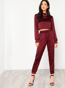 Mock Neck Crop Pullover & Sweatpants Set