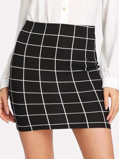 Elastic Waist Grid Bodycon Skirt