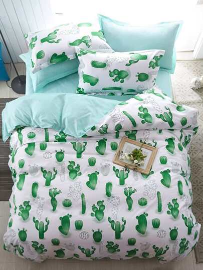 1.2m 4Pcs Cactus Print Bed Sheet Set