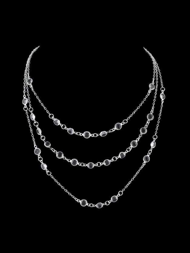 Silver Boho Chic Multi Layer Chain Beads Maxi Necklace