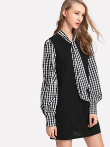 Tie Neck Gingham Sleeve Dress