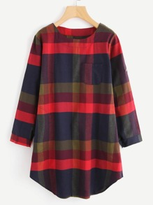Dolphin Hem Plaid Dress
