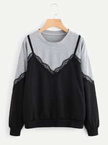 Contrast Lace Cut And Sew Panel Pullover