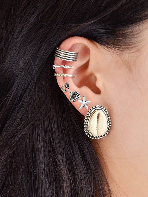 Image of 7Pcs/Set Boho Chic Shell Starfish Stud Cuff Cartilage Clip Earrings