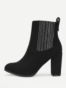 Studded Detail Wide Fit Ankle Boots