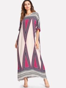 Geo Print Dolman Sleeve Oversized Dress
