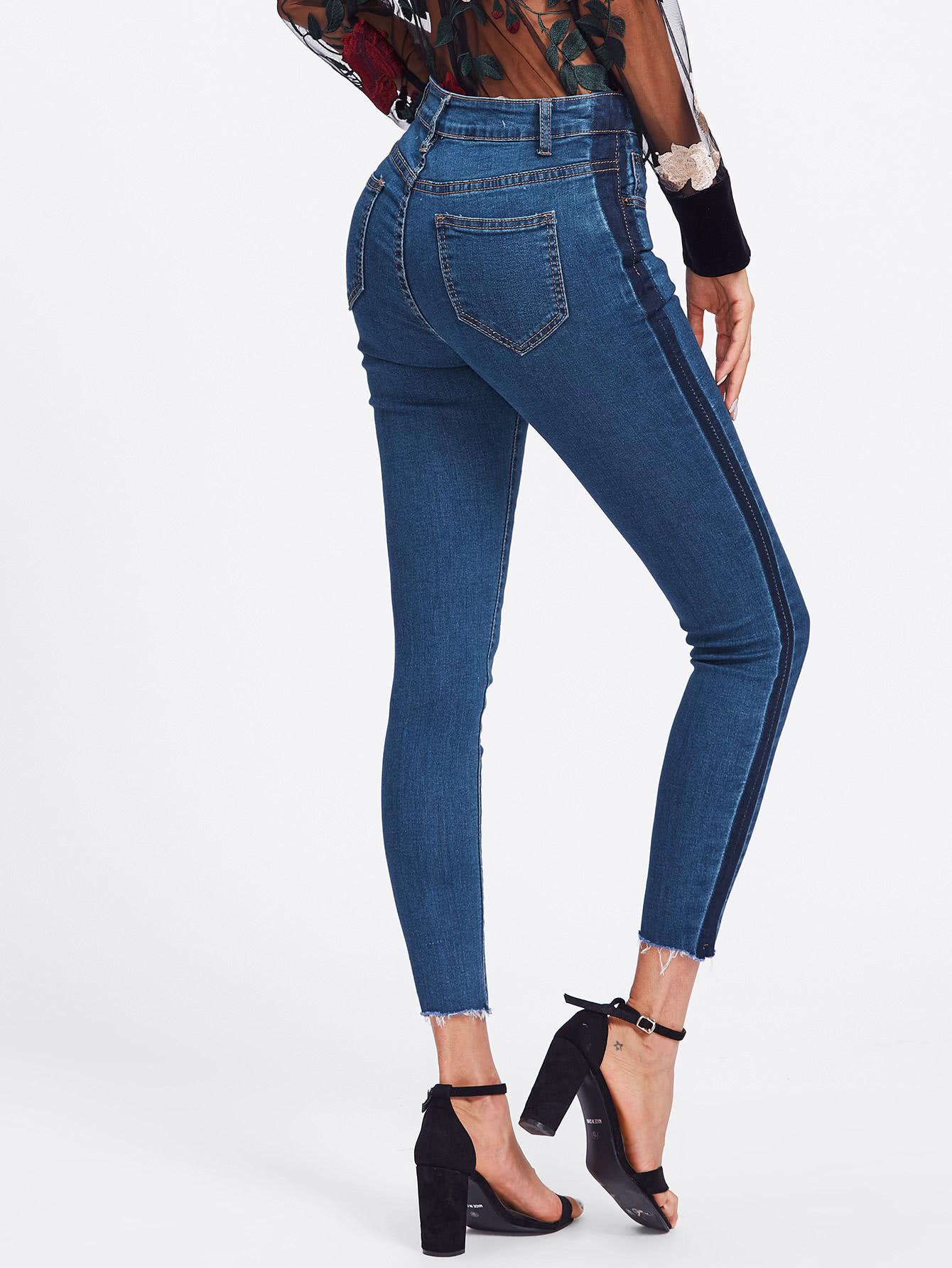 Contrast Side Striped Frayed Hem Jeans contrast pleated sleeve frayed hem tweed dress