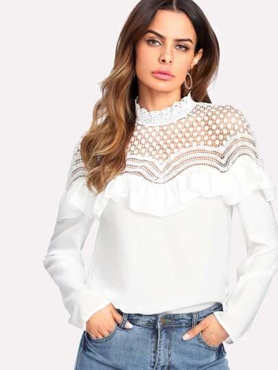 Lace Yoke Ruffle Embellished Textured Blouse